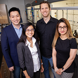From left: chemistry professor Jefferson Chan, graduate students Chelsea Anorma and Thomas Bearrood, and postdoctoral researcher Jamila Hedhli.