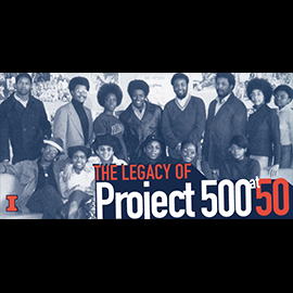 "An image that says ""The legacy of Project 500 at 50"" on top of a scan of an old photo"