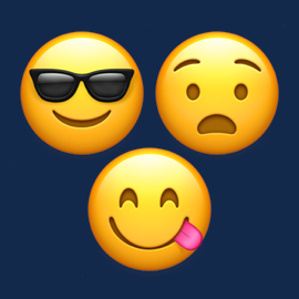 Illustration of three emoji - one with sunglasses, one sticking its tongue out, and one frowning.