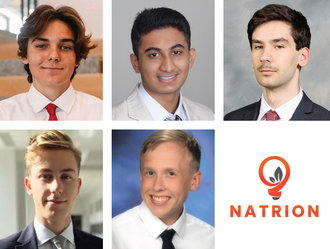 Photos of Natrion team members, and image of the Natrion logo