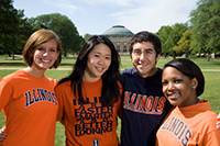 four students on the quad to show diversity