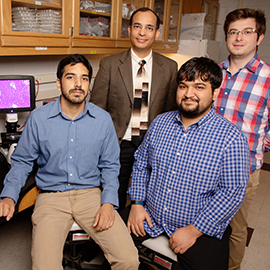 Auinash Kalsotra, second from left, and his team, including, from left, graduate students Waqar Arif, Joseph Seimetz, and Sushant Bangru