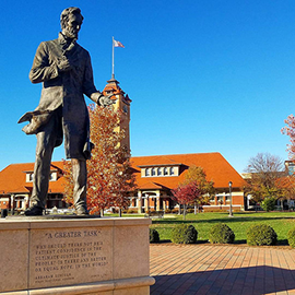 A statue of Abraham Lincoln in Springfield, Illinois