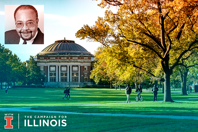 Robert Copeland and Illinois Quad in Fall