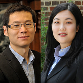Pictured from left are statistics professor Xiaohui Chen and Ziyi Qiu, economist and visiting professor with the Department of Economics.