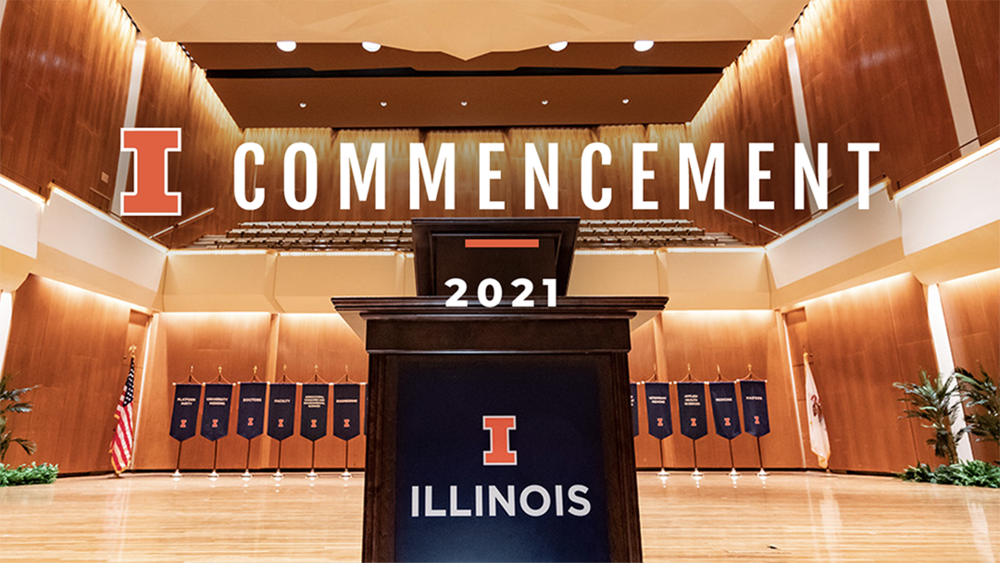 Image of a podium decorated for an Illinois commencement ceremony with Commencement 2021 text.