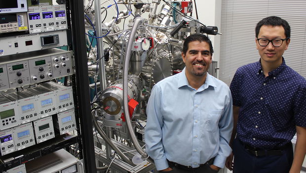 JP Allain and Yang Zhang with the IGNIS facility