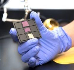 Nanoelectric devices made from atomically thin materials on a silicon chip. Photo courtesy of the UI Materials Research Laboratory.
