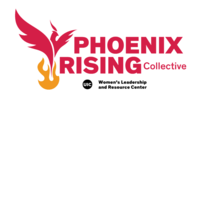 """""""PHOENIX RISING Collective"""" in red block text above the WLRC logo (""""UIC Women's Leadership and Resource Center"""" in black block text) with a red phoenix rising from orange flames to the left of the text."""