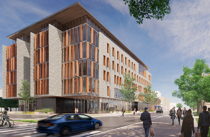 A conceptual rendering of the exterior of the new Illini Hall, viewed from the southeast. (Image by CannonDesign.)