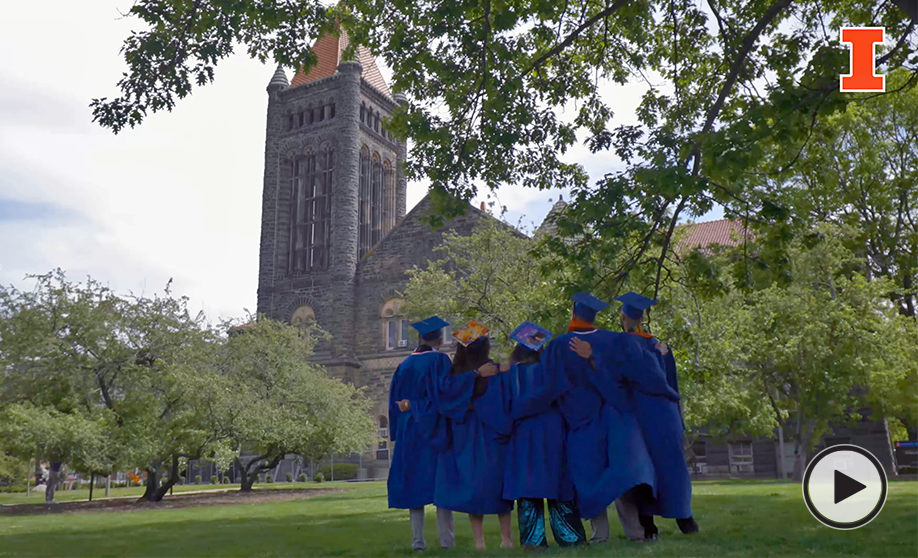 Graduates listening to the chimes outside Altgeld Hall