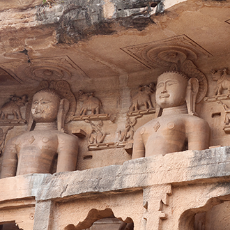 Ancient Jain statues carved out of rock found in Gwalior, Madhya Pradesh, India