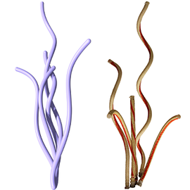 Simulated (purple, left) and real robotic arms.