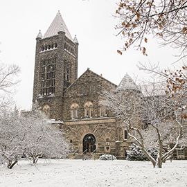 Altgeld Hall covered in snow