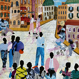 """Street Smarts II,"" by University of Illinois at Urbana-Champaign alumnus Allen Stringfellow, is part of the ""Between Buildings"" exhibit at Krannert Art Museum on display through March 23."