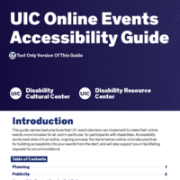 A navy banner has bold white lettering at the top of the flyer, smaller navy text on a white background in the middle, and a navy banner at the bottom with a yellow link to the guide and white logos for the UIC Disability Cultural Center and UIC Disability Resource Center.