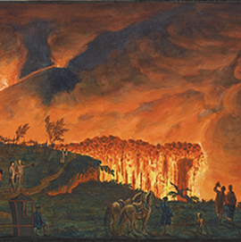 An illustration from an early 18th-century book on Mount Vesuvius shows a nighttime scene of the volcano's eruption.