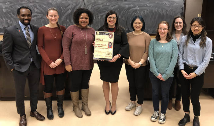 Dr. Esther Tristani, Burt Bees Scientist (fourth from left) with the Stoesser Committee after her lecture on February 26th, 2019