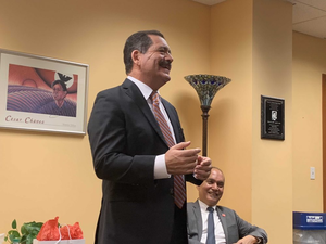 """U. S. Rep. Jesus """"Chuy"""" Garcia, pictured with LARES director Hugo Teruel, speaks with students and faculty at UIC."""