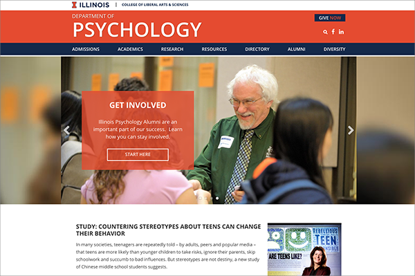 screenshot of new psychology website