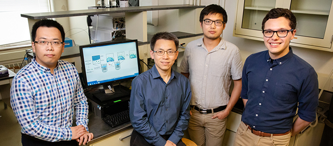 From left, postdoctoral researcher Ziyuan Song, professor Jianjun Cheng and graduate students Tianrui Xue and Lazaro Pacheco.
