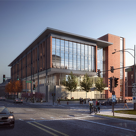 Groundbreaking for the Campus Instructional Facility Project took place in mid-April. The first classes in the facility are planned for fall 2021. Illustration by Skidmore, Owings & Merrill