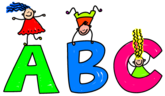 ABC with kids playing on letters