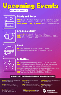 A calendar listing of events with a purple-red gradient background and a map of the 7 Centers for Cultural Understanding and Social Change