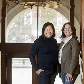 Project lead Natasha Mamaril, left, Illinois Scholars Undergraduate Research director, joins co-project lead Jennifer Bernhard, Director of the Applied Research Institute and former Associate Dean for Research at Grainger Engineering.