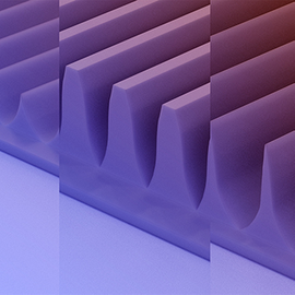 An artist rendering of the MacEtch-produced fin array structures in a beta-gallium oxide semiconductor substrate from professor Xiuling Li's latest project.
