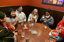 UIC alumni and students enjoyed games at a social in Des Plaines.