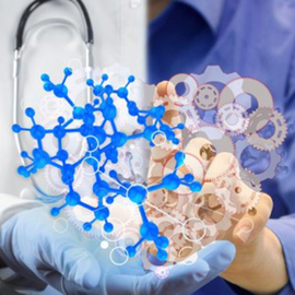 A doctor's hand and an engineer's hand holdling a heart made up of molecules and gears.
