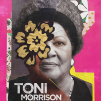 sepia photo of Toni Morrison with a border of pink and floral imagery