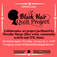 """A silhouette of a Black woman's head, the words """"Black Hair Quilt Project,"""" and a needle and thread weaving through the words."""