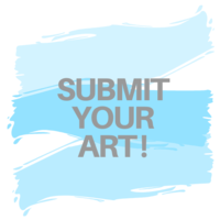 Submit your art grey text with gradient blue paint strokes