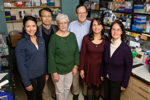 Photo of Katzenellenbogen and other researchers who developed new compounds