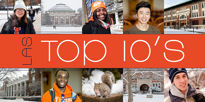 LAS Top tens - images of students and quad buildings