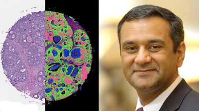 Two side-by-side versions of cells imaged by new hybrid microscope, and photo of Rohit Bhargava.