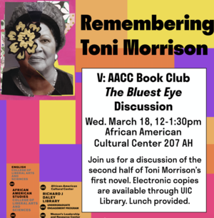 Flyer image for part five of Remembering Toni Morrison series -