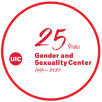 """""""25 years Gender and Sexuality Center"""" in red text inside white circle"""
