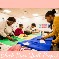 Five black women with cutting and sewing quilt fabric