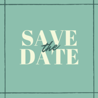 """SAVE the DATE"" in light yellow text on a pale green background"