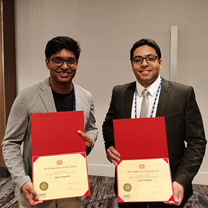 Sujan Gonugondla (left) and Karim Megawer with their Predoctoral Achievement Awards.