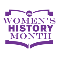 """The outline of an open book, with the UIC circle logo and the words """"WOMEN'S HISTORY MONTH"""" on top, all in purple on a white background"""