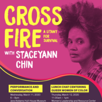 Staceyann Chin from the neck up, looking into the camera. The whole image is washed in magenta.