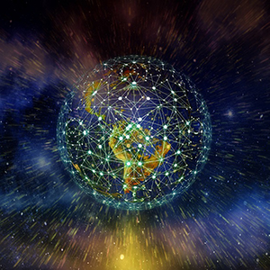 Earth connected by a vast amount of datapoints.