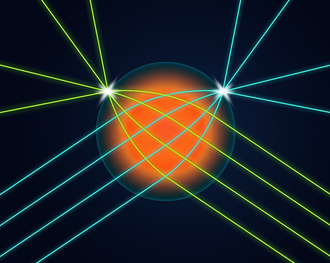 Graphic illustration of an orange spherical lens with colored lines representing light coming in from multiple directions