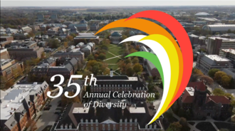 35th Annual Celebration of Diversity logo overlaying an aerial photo of UIUC campus
