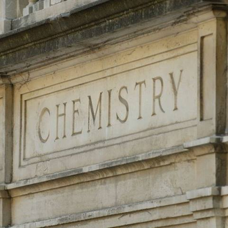 """Picture of the word """"Chemistry"""" on the front of a building on the UIUC campus"""