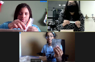 Computer screen shot of a Zoom conference showing graduate student Belinda Pacheco leading two middle school students in an experiment